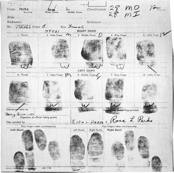 Rosa Parks' fingerprints from her arrest