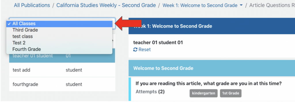 Select a classroom using the dropdown menu on the left.