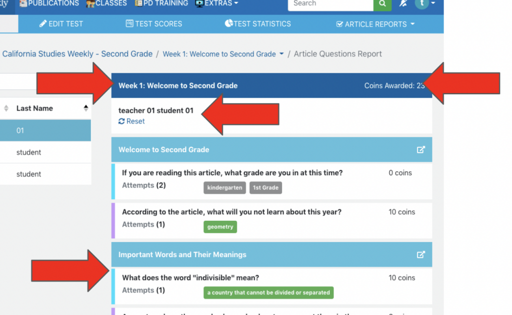 Monitor a student's article question report.
