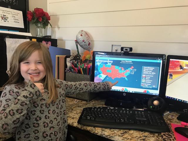 Elementary school student, Ella Hulshult, learning remotely.