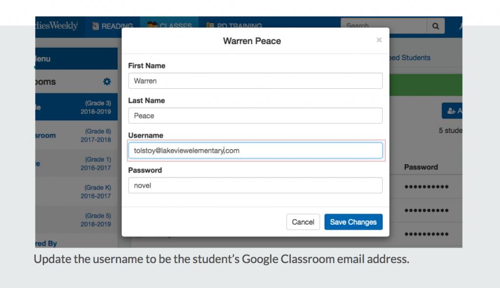 Edit student's username on Studies Weekly Online.