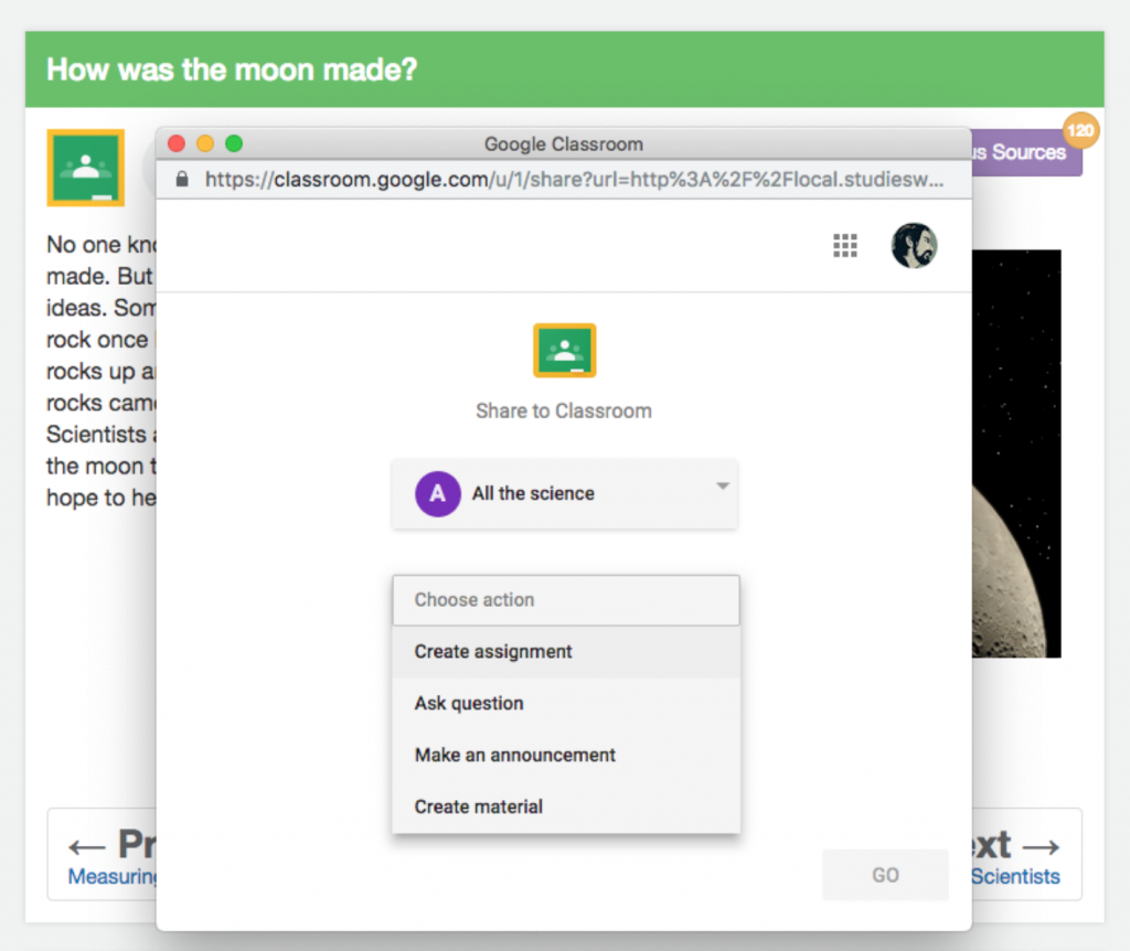 Integrating Google classroom with Studies Weekly Online