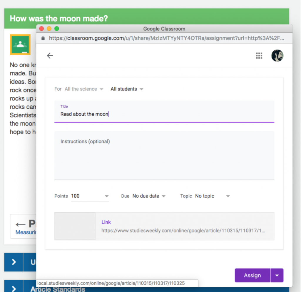 Add notes for Google classroom integration