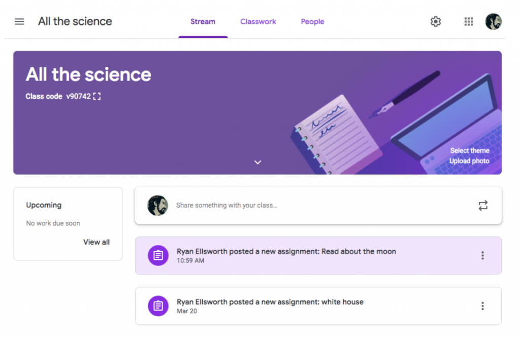 SWO assignment in Google classroom