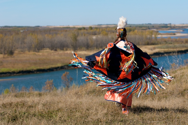 Native American woman dancing