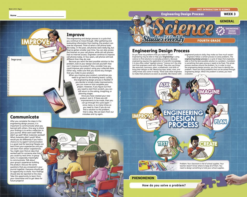 Engineering Design Process lesson from Studies Weekly 4th Grade Science Curriculum