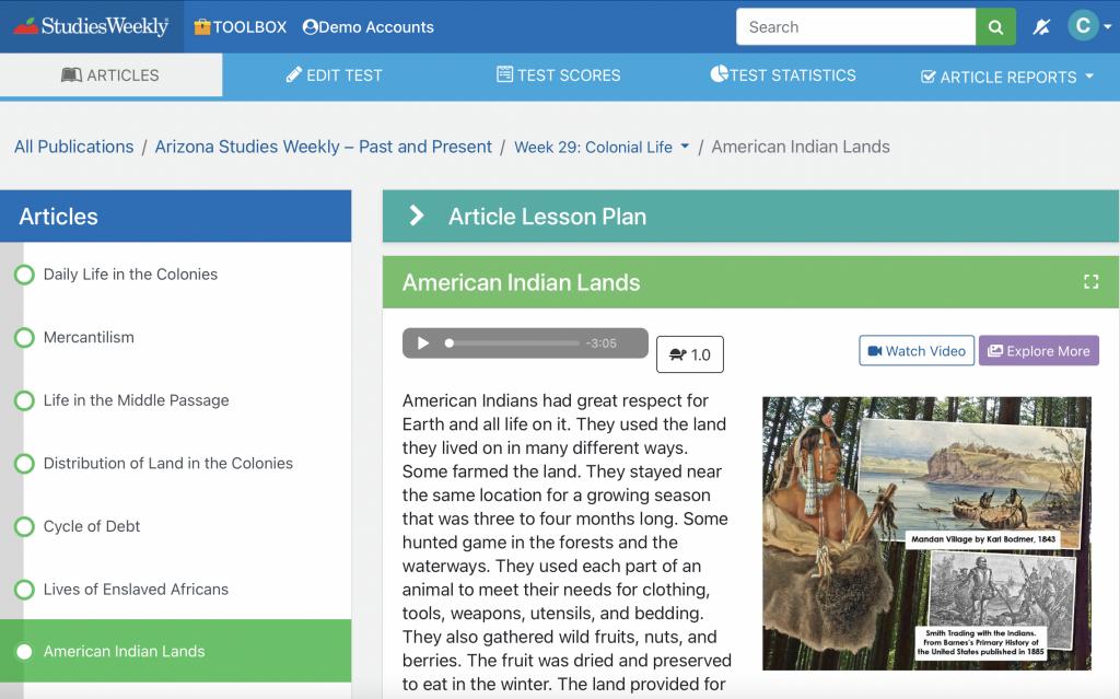 Studies weekly online American Indian article