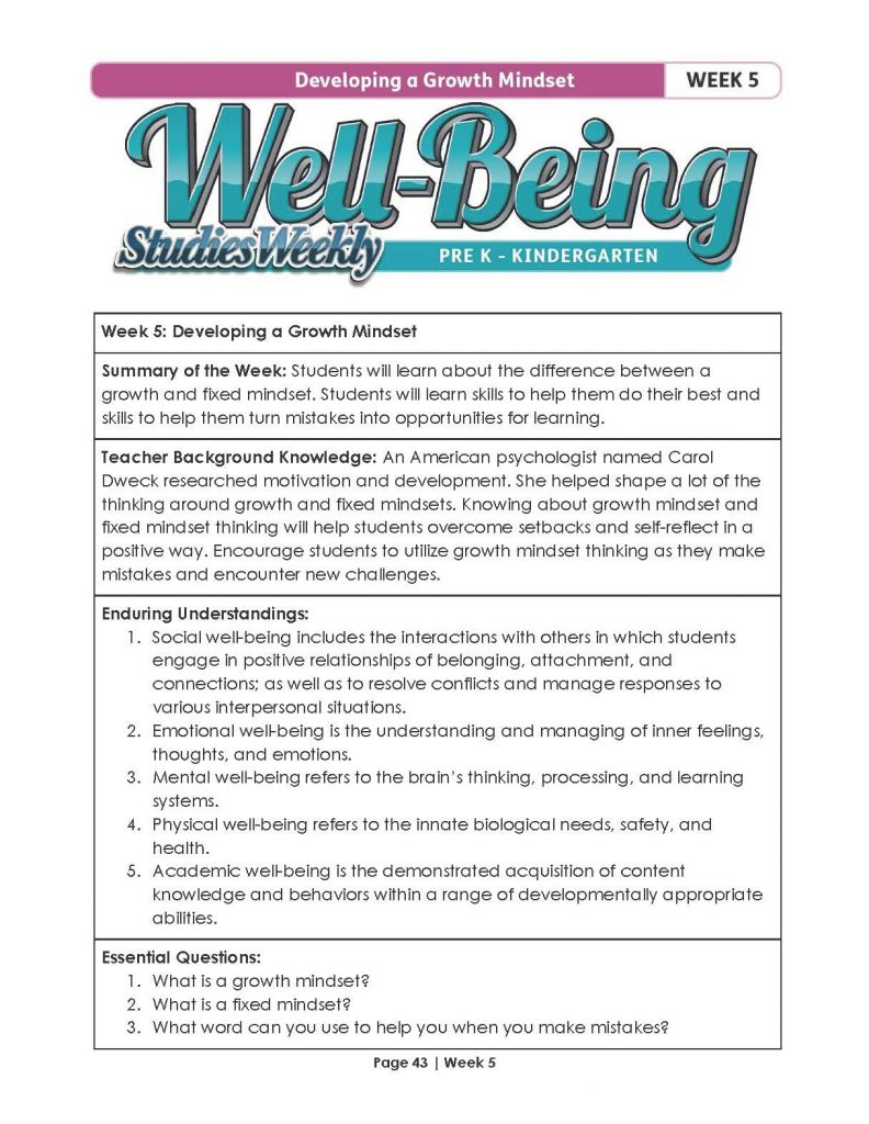 Studies Weekly Well-Being Curriculum Lesson Plan