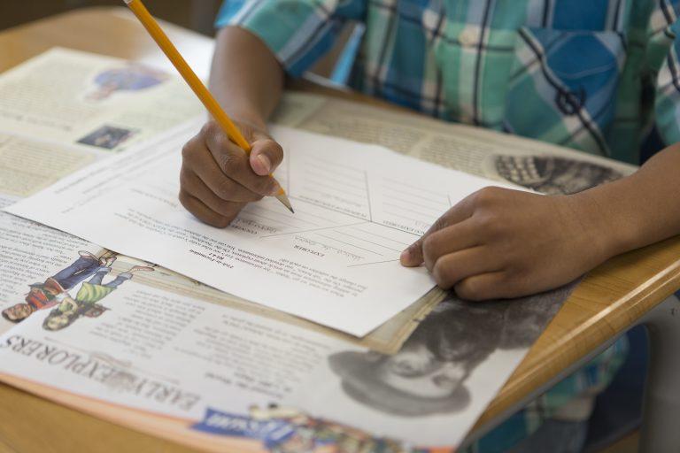 Student using studies weekly