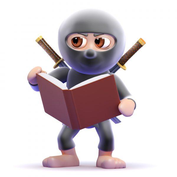 Ninja reading a book