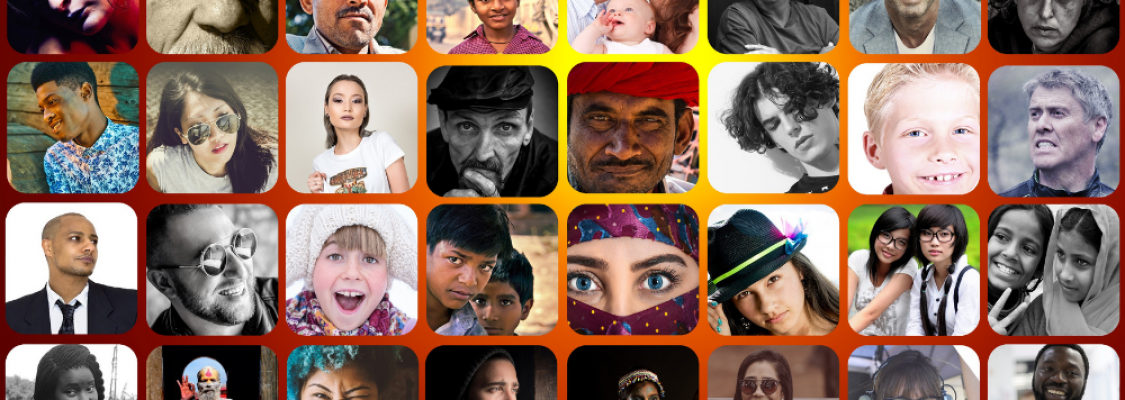 A series of photos of people from different cultures, promoting diversity.