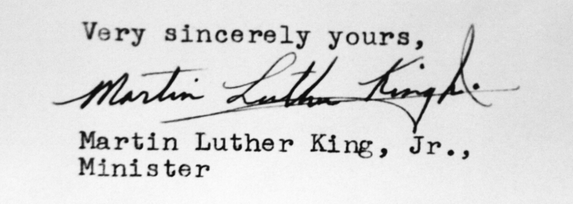 Martin Luther King Jr. signature on a letter