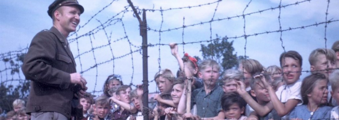 Berlin Candy Bomber with children