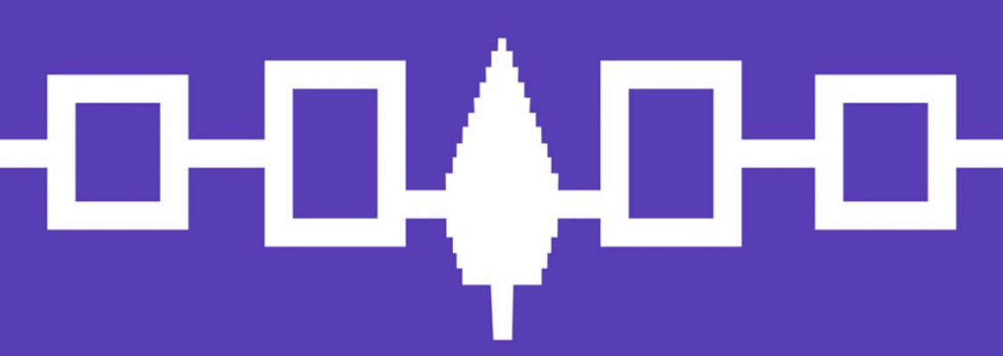 Flag of the Iroquois Confederacy created circa 1980. The pattern on the flag represents the peace created between five warring tribes when they buried their weapons of war under the Great Tree of Peace.