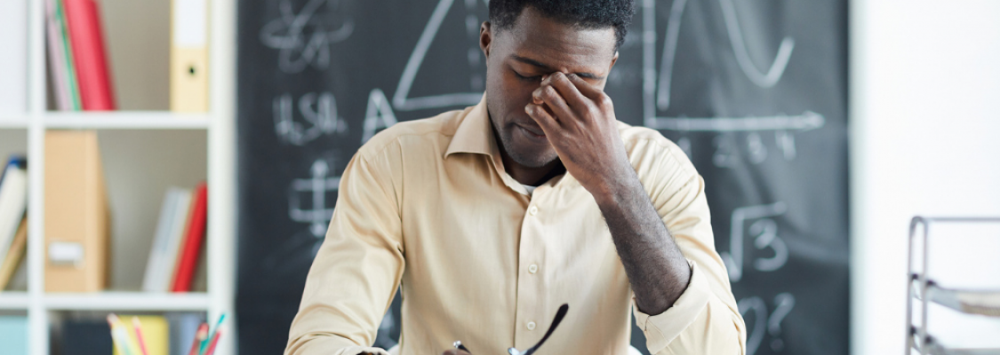 Teacher suffering from compassion fatigue.