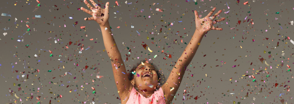 child celebrating